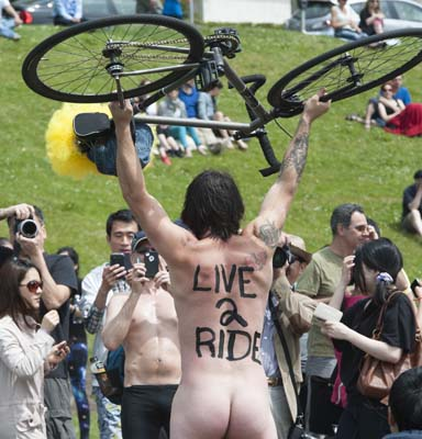 VANCOUVER, B.C.: JUNE 15, 2013 -- Cyclists unite for World Naked Bike Ride day on Saturday, June15, 2013. Hundreds stripped down to protest against oil dependency and car culture. (photo by Jenelle Schneider/PNG)(The Province story by )